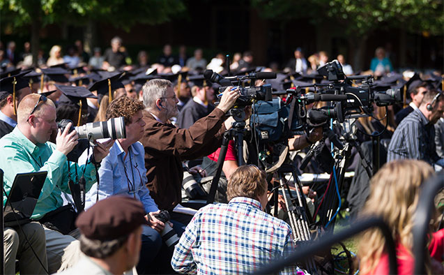ake Forest University hosts its 2014 Commencement Ceremony on Hearn Plaza on Monday, May 19, 2014. Members of the news media turned out in force to hear speaker Jill Abramson.