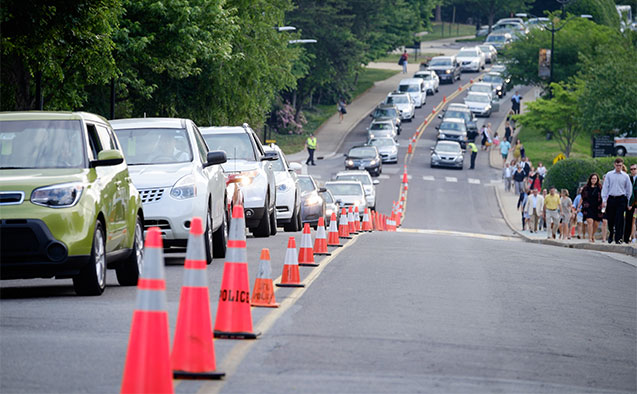 Commencement traffic at Wake Forest University in 2015.