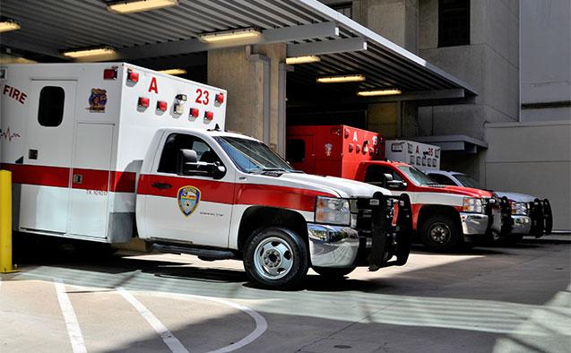 Ambulances at an emergency room hospital entrance