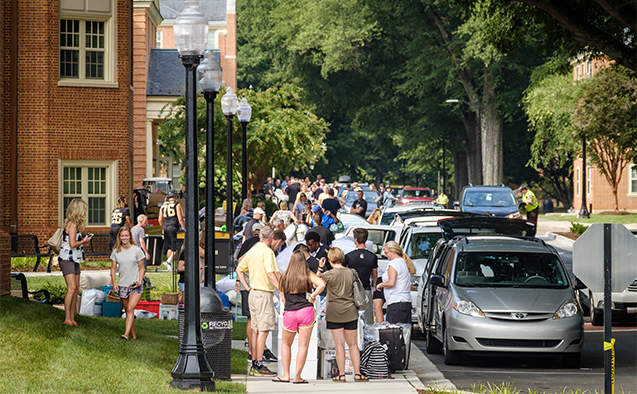 Wake Forest first year students move into their residence halls on south campus on the annual move in day on Wednesday, August 23, 2017.
