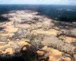 Aerial image of gold mining in the Amazon rain forest.