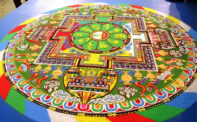 A Tibetan monk sand mandala