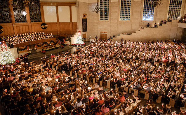 Wake Forest hosts its annual Christmas Lovefeast celebration in Wait Chapel on Sunday, December 3, 2017. The candles are lit and slowly brighten the entire chapel.