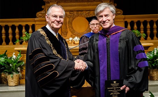 Law Professor John Knox wins the Joseph Branch Excellence in Teaching Award.