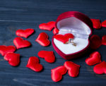 Red heart-shaped box with a ring in it