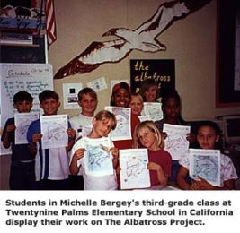 Third-graders at Twentynine Palms Elementary display their work on The Albatross Project