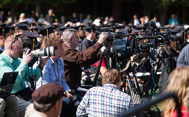 Media members at commencement
