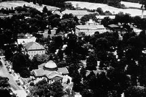 Aerial photo of historic campus