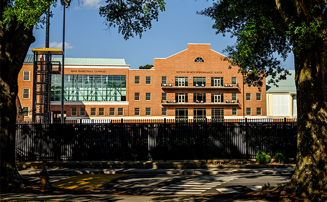 An exterior view of the new Sutton Sports Performance Center and Shah Basketball Complex, on the campus of Wake Forest University, Thursday, August 8, 2019.