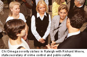 Chi Omega sorority sisters in Raleigh with Richard Moore