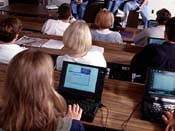 Students in class with IBM Thinkpad