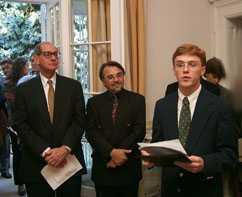 President Thomas K. Hearn Jr. (left) and Wake Forest junior Samuel Turner (right)