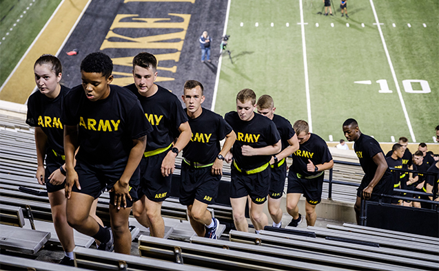 Wake Forest and Winston-Salem State ROTC cadets, city firefighters, police cadets, and members of the campus community climb 2997 stairs at BB&T field to commemorate those killed in the 9/11 attacks, on the 17th anniversary on Tuesday, September 11, 2018.