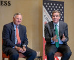 US Senators Richard Burr (R-NC) and Mark Warner (D-VA) have a panel discussion moderator Kami Chavis in Broyhill Auditorium on Monday, November 11, 2019.