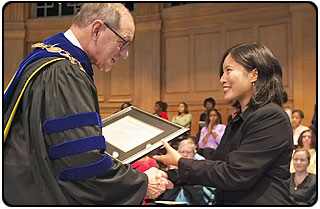 Winners of the 2003 Marcellus Waddill Excellence in Teaching Awards are alumnae Joy Bautista