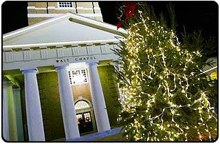 White lights in front of Wait Chapel