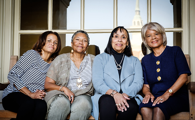 From left, Awilda Gilliam Neal ('73), Deborah McFarlane ('73), Linda Holiday ('73), and Beth Hopkins ('73)