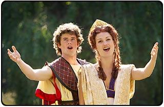 Wake Forest Univeristy seniors Rebecca Newby and Joseph Hipps as Queen Dido and Aeneas, the Trojan prince.