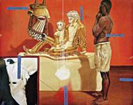 """Armando Mariño, El Racismo Explicado a los Niños, 2001 (Racism Explained to Children)oil on canvas, 77"""" x 64.6"""""""