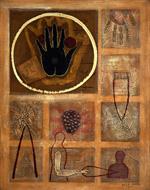 """Elsa Moro, The Closed Hand, 2001 mixed media on canvas, 24"""" x 30"""""""