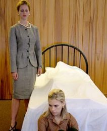 Wake Forest senior Stephanie Hill (standing) as Marion French and sophomore Dowd Keith as Isobel Glass. Marion and Isobel are sisters trying to figure out what to do after their father dies.