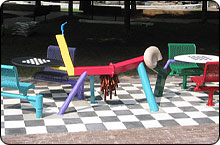 sculptural chess table