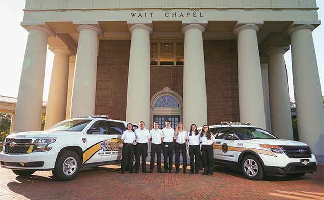 Feldman (second from left), with WFU's Emergency Medical Services team.