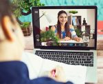 Distance learning from home on video conference call stock photo