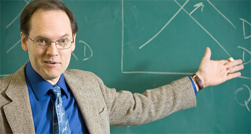 Robert Whaples at a chalkboard