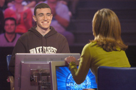 """Aaron Mass (left) on """"Who Wants To Be A Millionaire"""""""