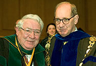 Dr. Tim Pennell receives the Medallion of Merit from President Hearn.