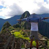 Student in Peru overlooking Machu Pichu