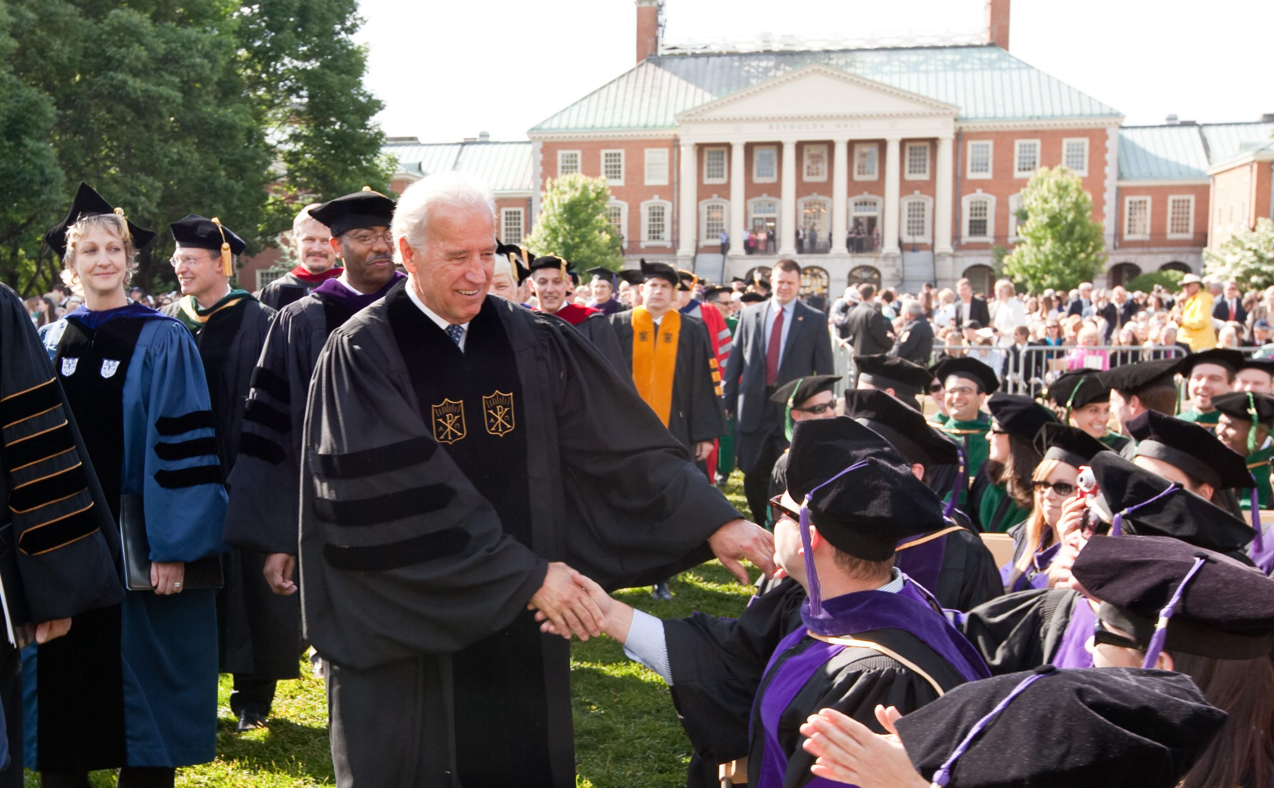 Wake Forest University holds its 2009 Commencement Exercises on Monday, May 18, 2009. Vice President Joe Biden walks across Hearn Plaza in the procession.