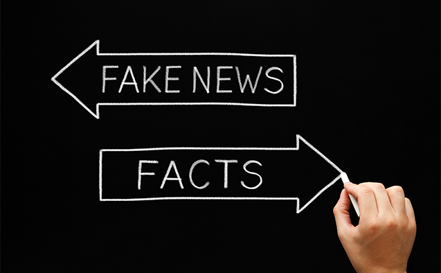 Fake News vs. Facts stock photo