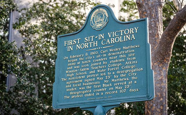 Historical marker in Winston-Salem, N.C.