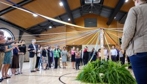 The Wake Forest Office of the Chaplain holds a Peace Pole ceremony in the Sutton Center to pray for peace worldwide.
