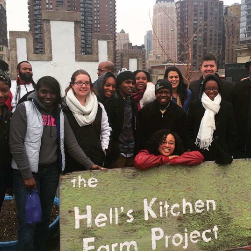 School of Divinity students visit and work at the Hell's Kitchen Farm Project in New York City
