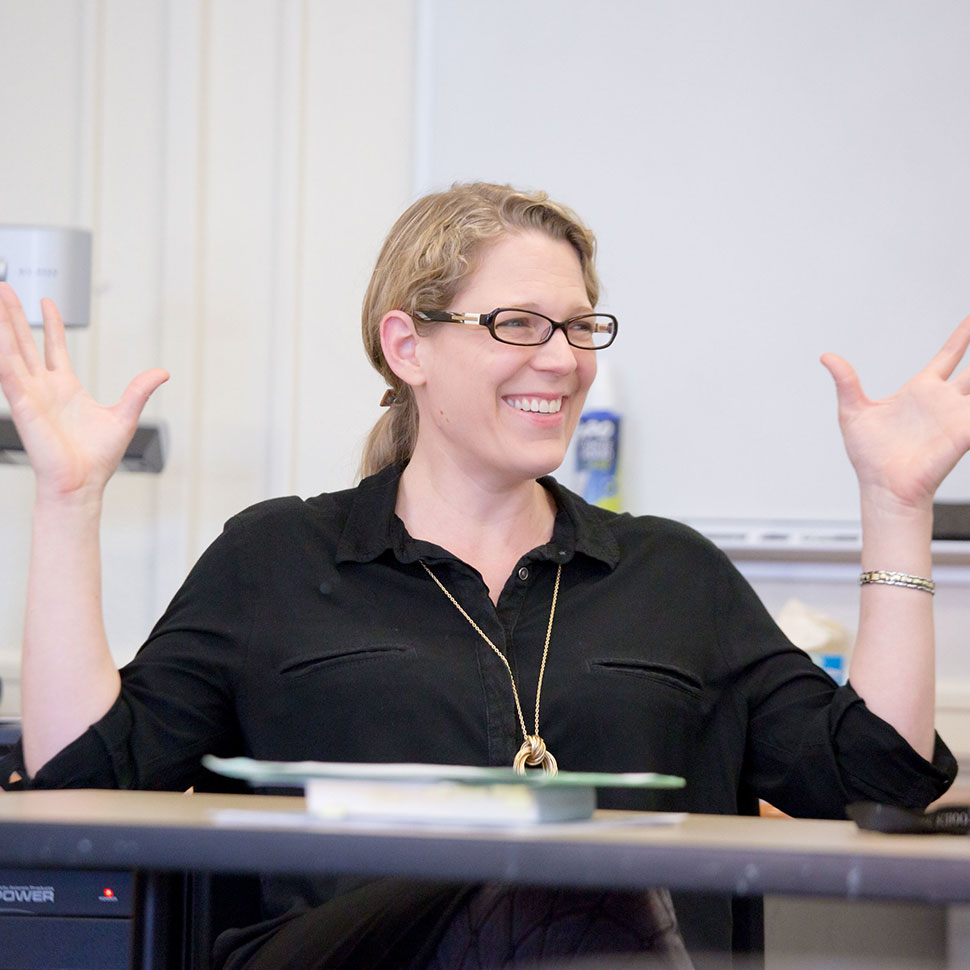 Michelle Voss Roberts teaching a course at the School of Divinity