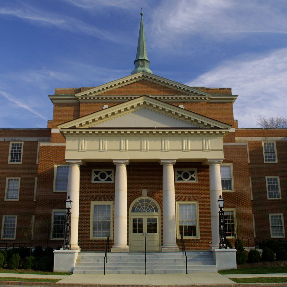 Outdoor entry (street side) to Wingate Hall on the campus of Wake Forest University