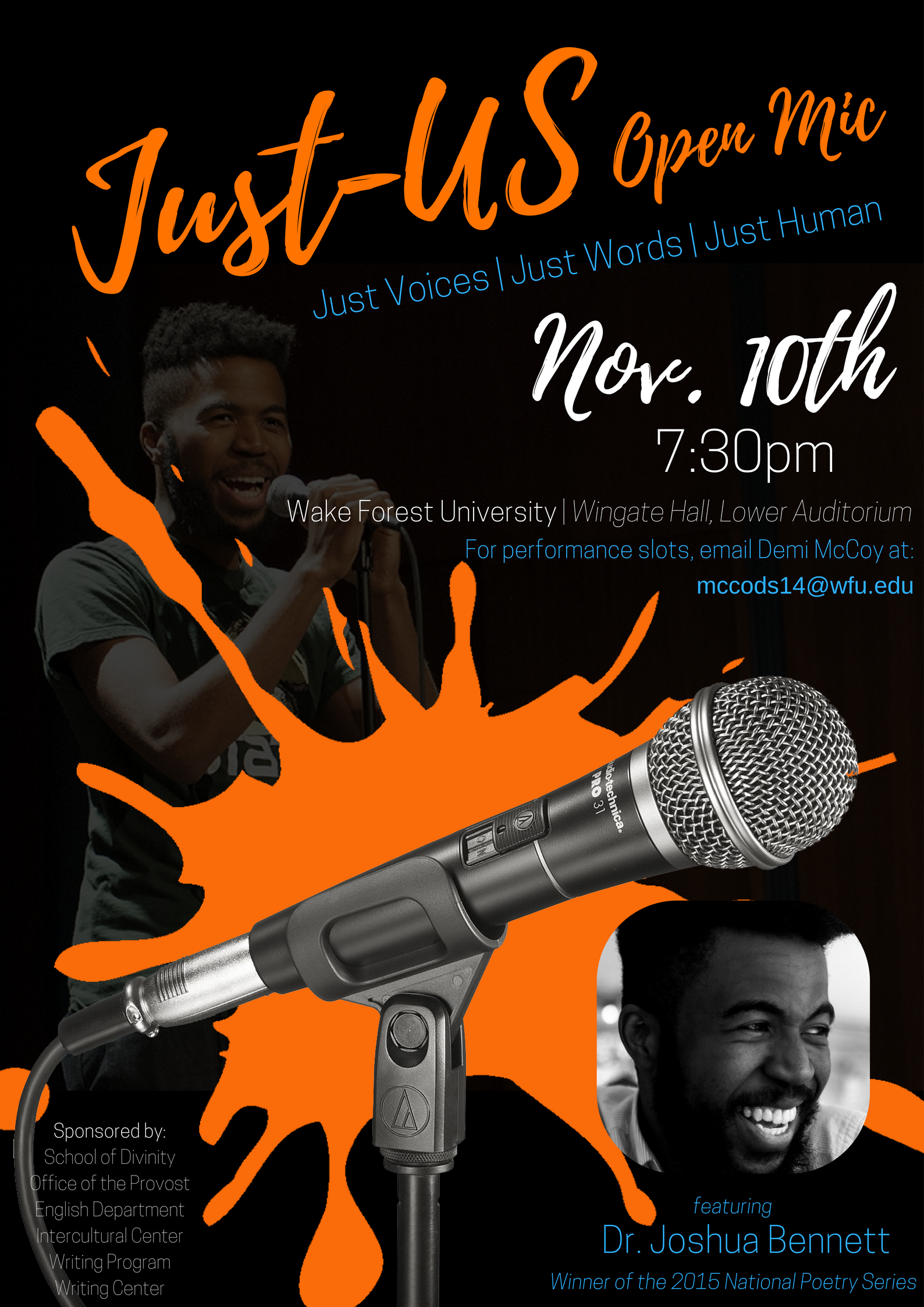 Creative flyer for the Just-US Open Mic Event in November 2017