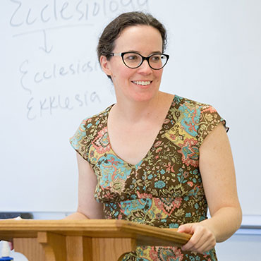 School of Divinity faculty member Elizabeth Gandolfo lectures