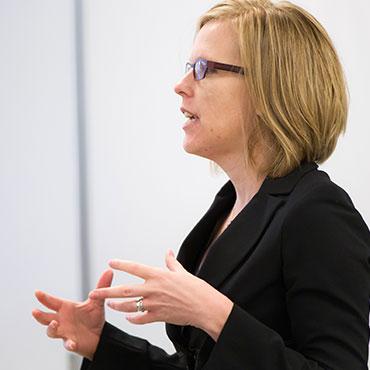 School of Divinity professor Katherine Shaner lectures