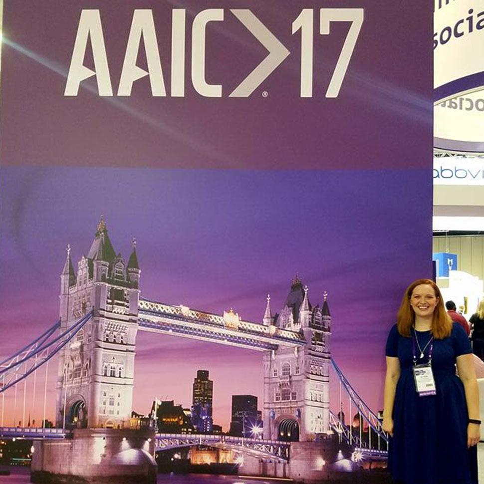 Ski Botte (MDiv/MA '17) in front of her research display at the 2017 Alzheimer's Association International Conference.