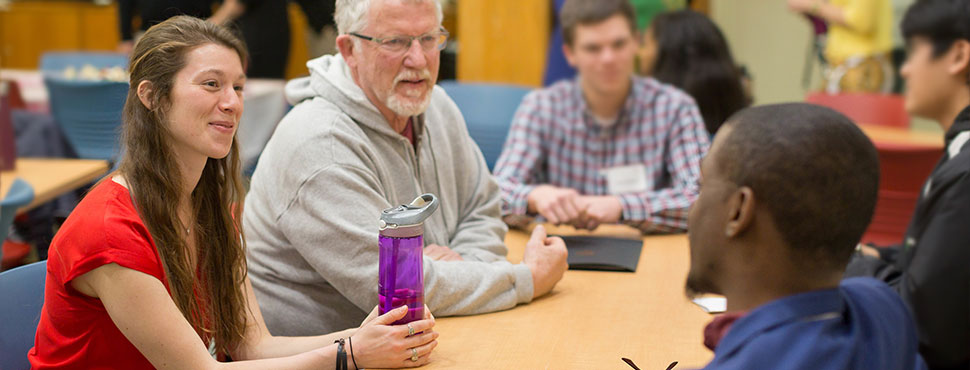 School of Divinity students converse during community lunch