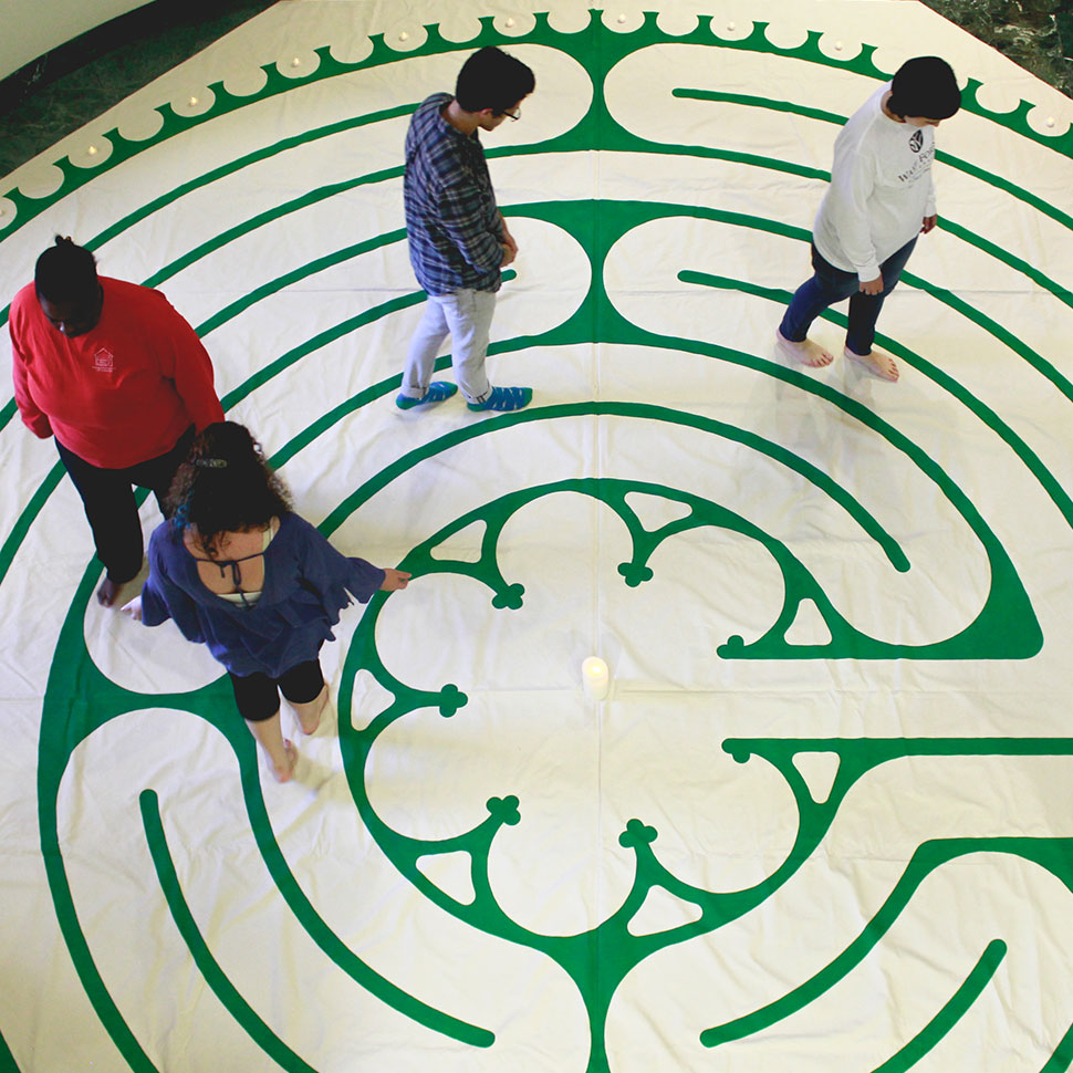 School of Divinity students participate in a labyrinth walking meditation, Fall 2017