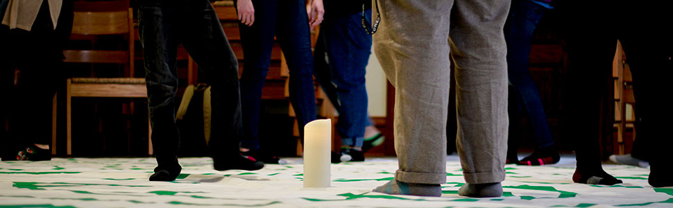 School of Divinity students gather in Davis Chapel for a contemplative walk for justice using the ancient practice of labyrinth meditation