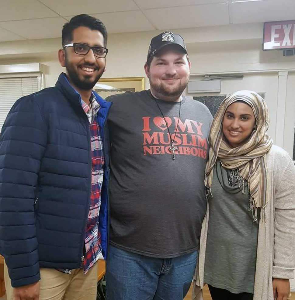Kenly Stewart (middle), Naijla Faizi (right), Director of Muslim Life at WFU, and Muhammad Fraz Siddiqui (left), Faizi's husband and IIIT alumni