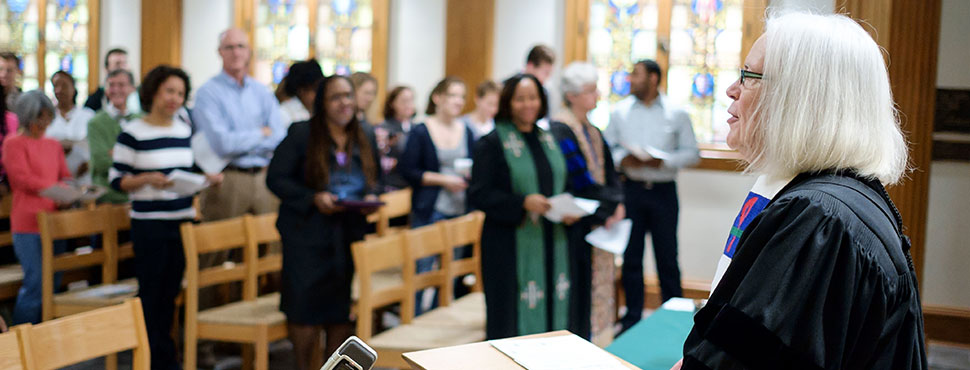 The Wake Forest School of Divinity hosts its first chapel service in the newly-renovated Davis Chapel on Tuesday, October 28, 2014.