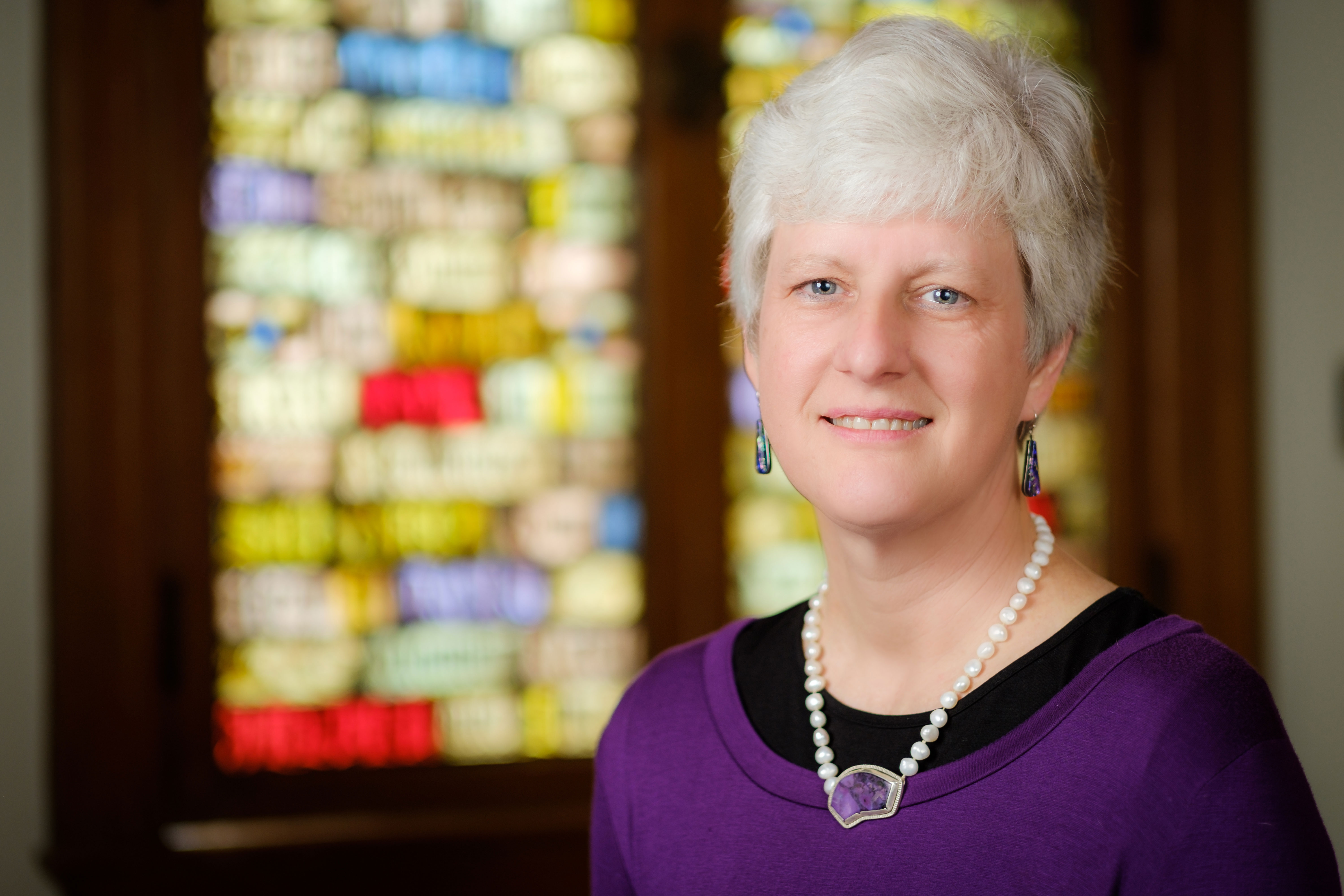 Wake Forest School of Divinity professor Jill Crainshaw poses in Davis Chapel on Thursday, January 11, 2018.