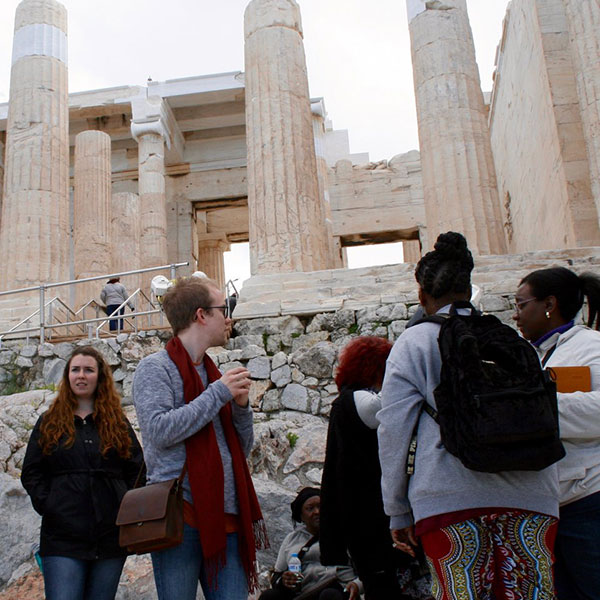 Students travel to Greece with New Testament Professor Katherine Shaner.